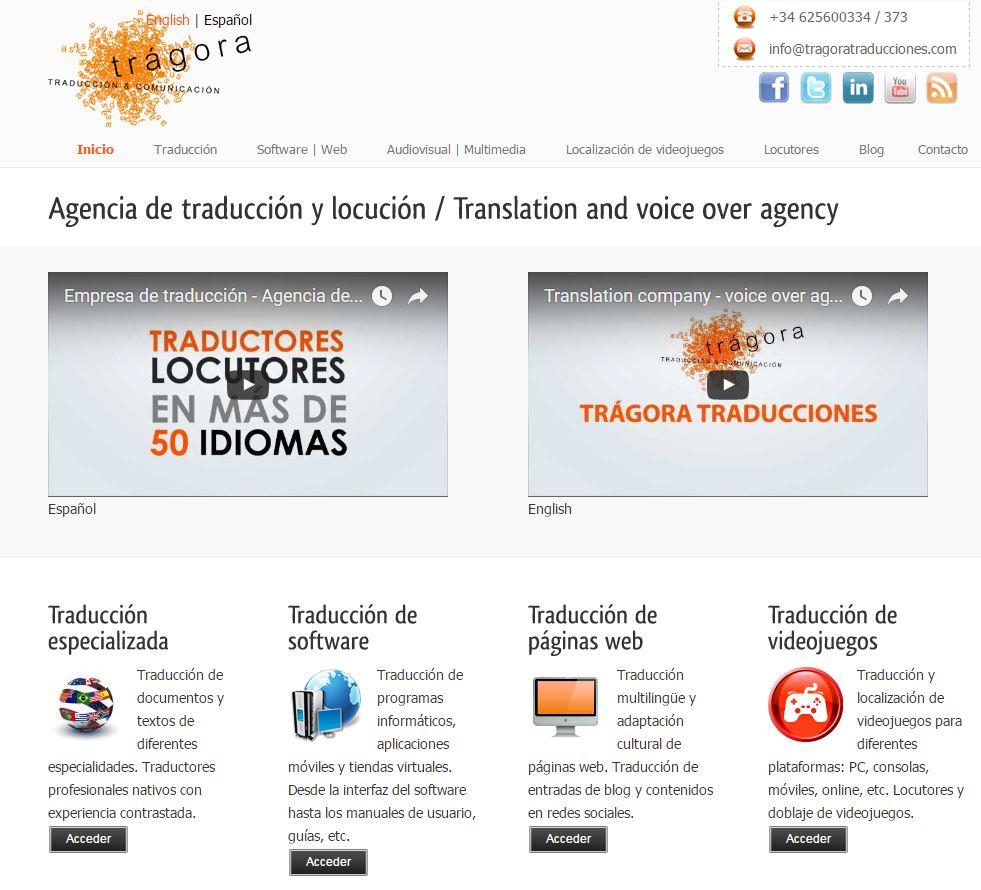 la web anterior de trágora traducciones